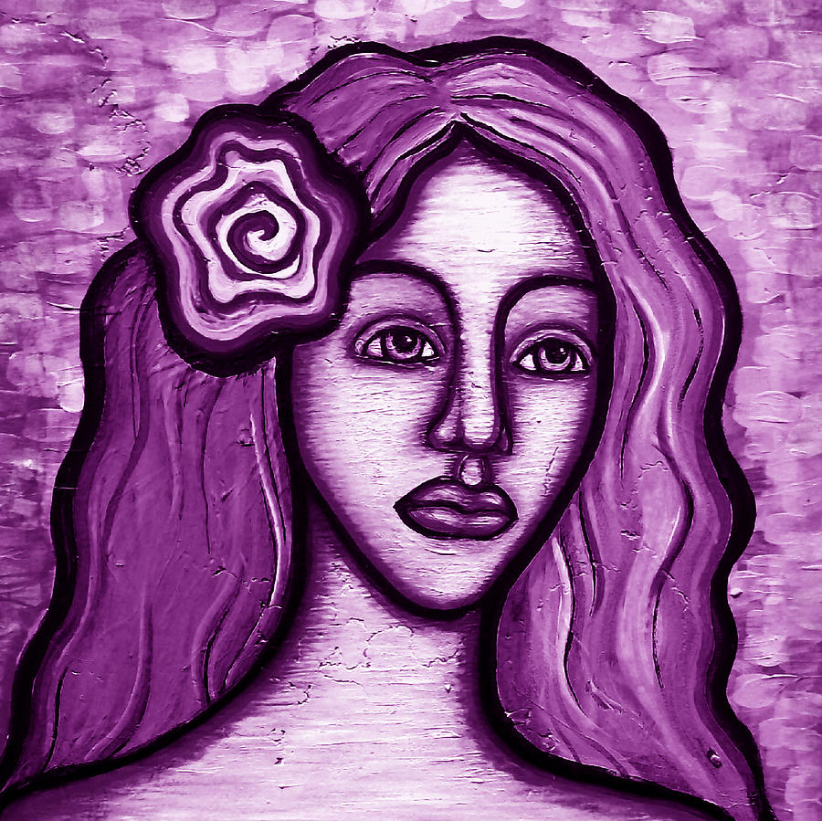 Purple Painting - Violet Lady by Brenda Higginson