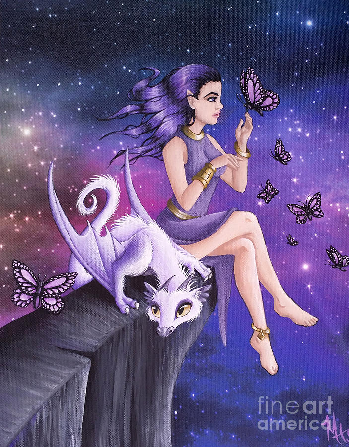 Dragon Painting - Violet Night Fantasy by Mary Hoy