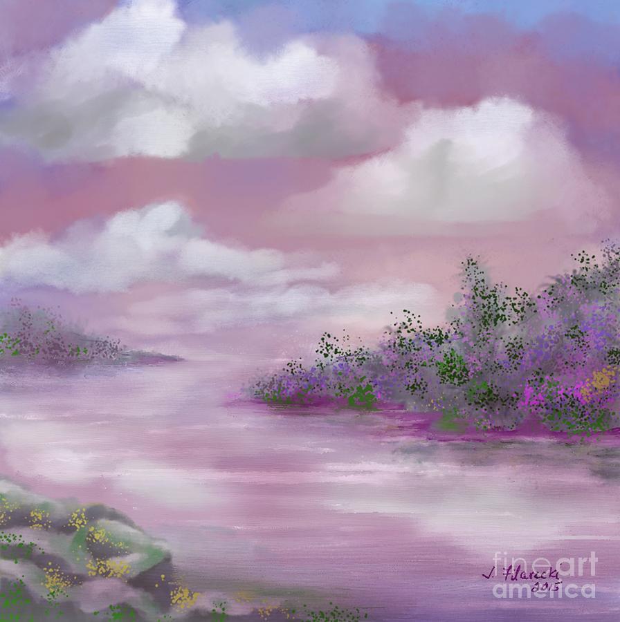 Landscape Painting - Violet Sunset by Judy Filarecki