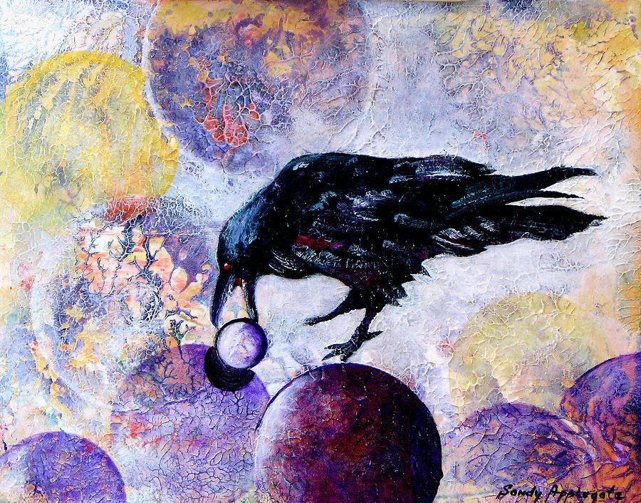 Raven Painting - Violet-velvet Lining by Sandy Applegate