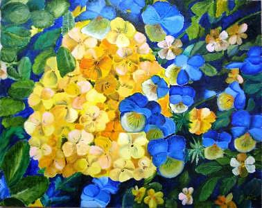 Flower Painting - Violets by Jenia Tyshchenko