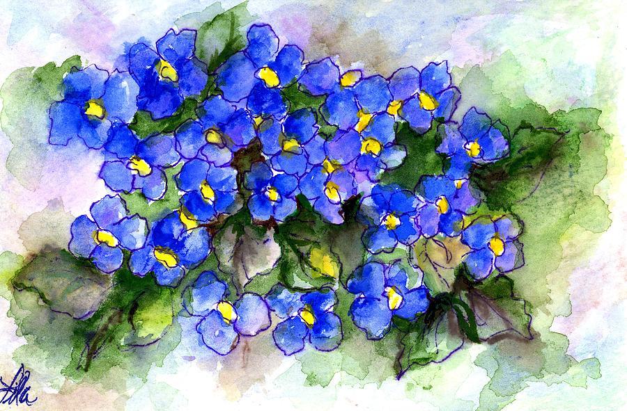 Violets Of Blue Painting by Lila Van Pelt