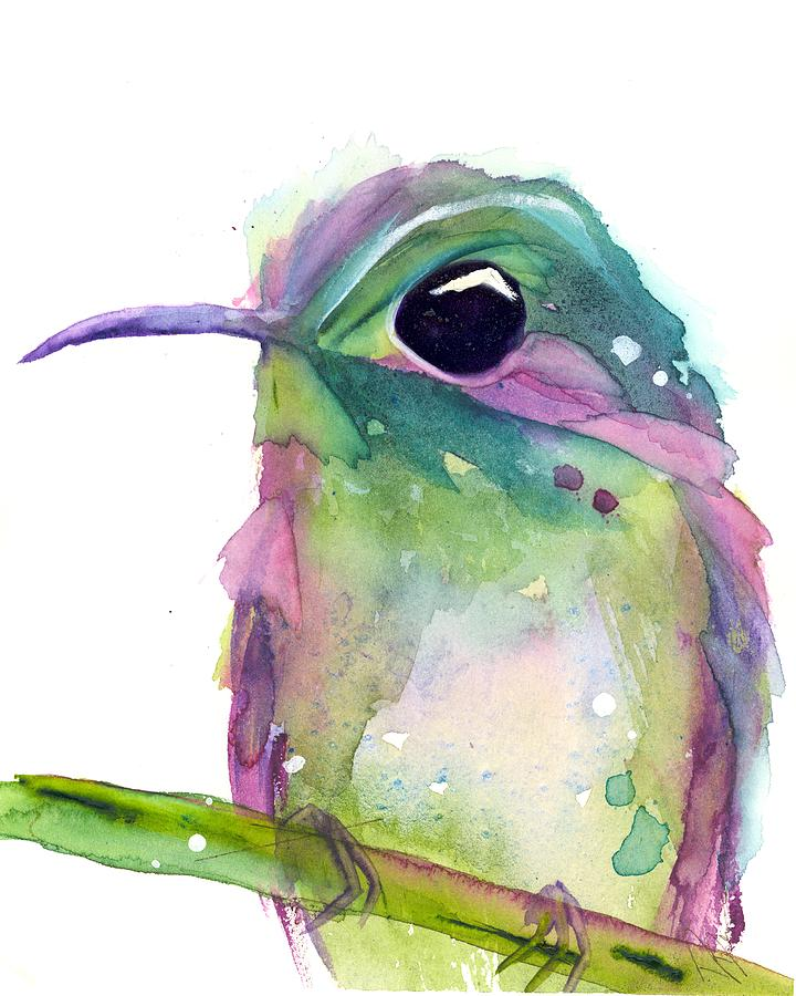 Hummingbird Watercolor Painting - Violets Rest by Dawn Derman