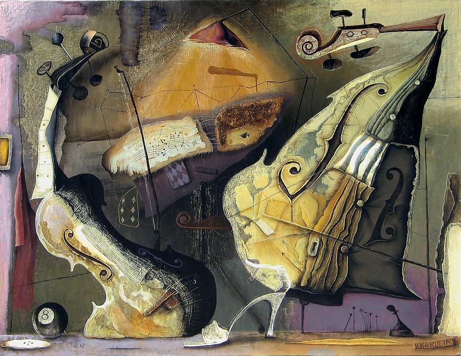 Violin And Chello Painting by Vakho Kakulia