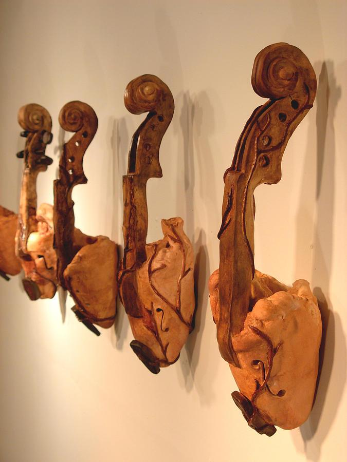 Heart Sculpture - Violin Hearts by Karissa Bishop