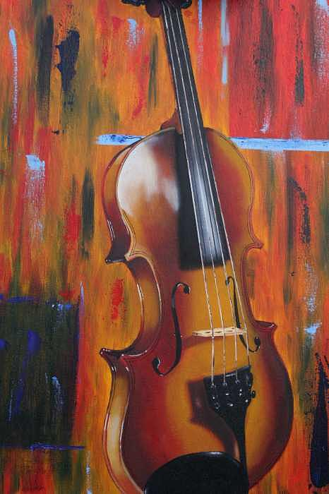 Violin Painting by Jose Tello