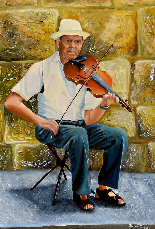 Musician Painting - Violin Man by Joanna Jackson