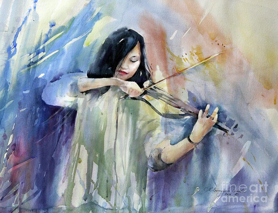Music Painting - Violin Musician by Natalia Eremeyeva Duarte
