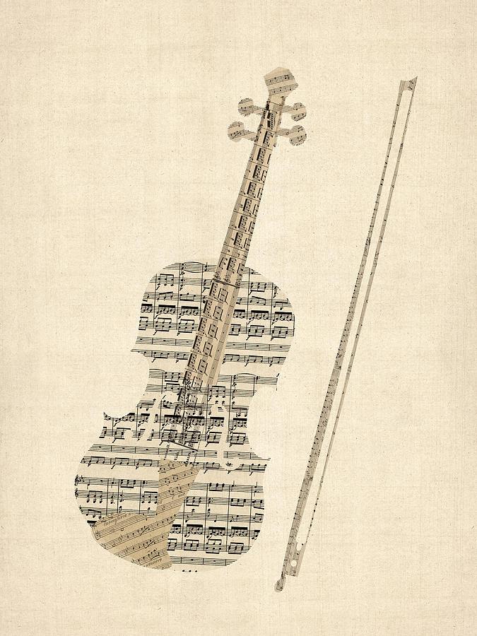 Violin Digital Art - Violin Old Sheet Music by Michael Tompsett