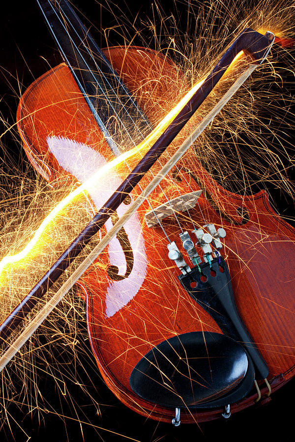 Hot Photograph - Violin With Sparks Flying From The Bow by Garry Gay