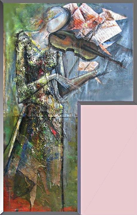 Music Relief - Violinist Woman by Giorgi Kobiashvili
