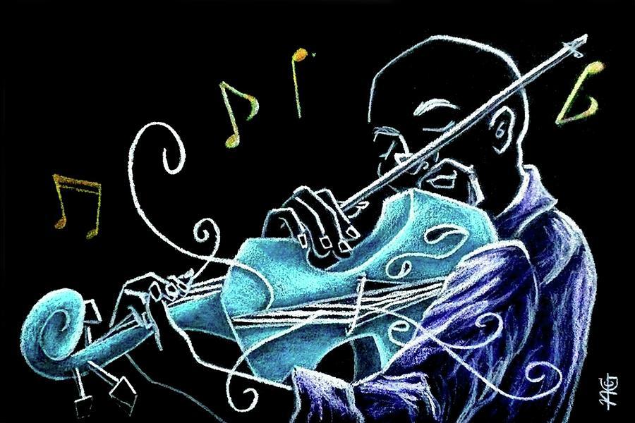Live Music Drawing - Violinista Gran Caffe Chioggia - Musica Piazza San Marco by Arte Venezia