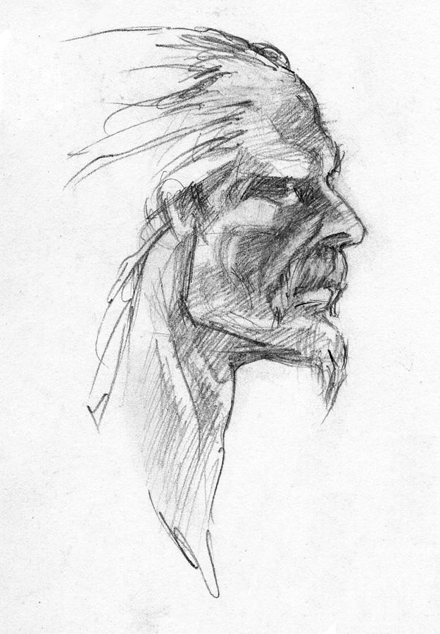 Celtic Drawing - Vircingetorix by Scott Waters