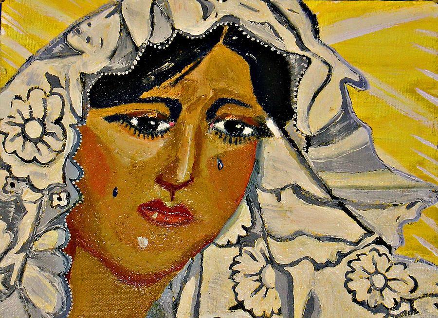 Portrait Painting - Virgen De Macarena Morena by Sarita Brooks