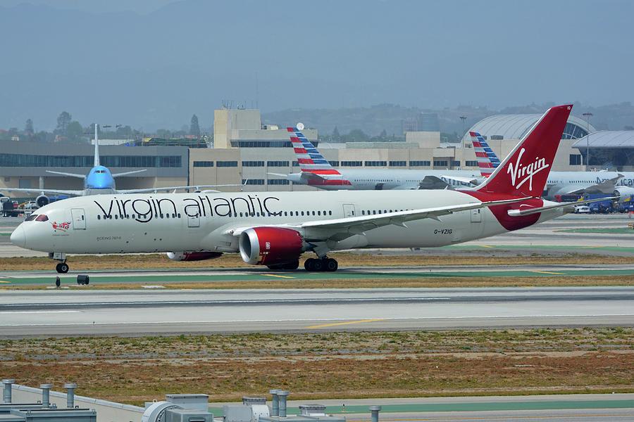 Airplane Photograph - Virgin Atlantic Boeing 787-9 G-vzig Los Angeles International Airport May 3 2016 by Brian Lockett