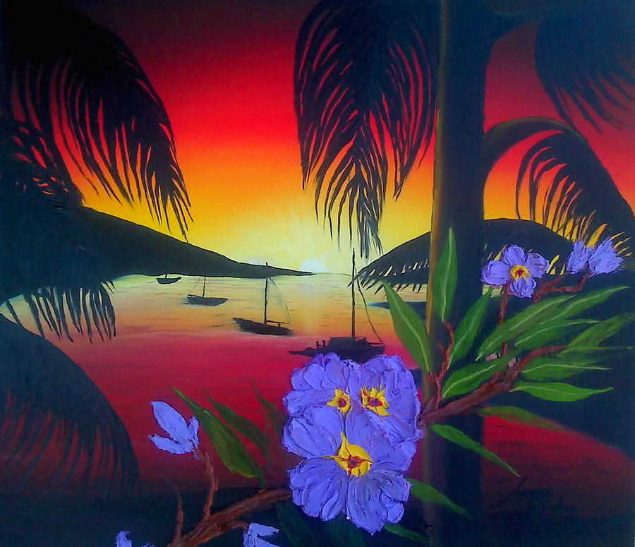 Virgin Island Palms At Sunset One Painting by Dunbars Modern Art