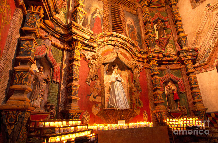 Virgin Mary Photograph - Virgin Mary Statue Candles Mission San Xavier Del Bac by Thomas R Fletcher