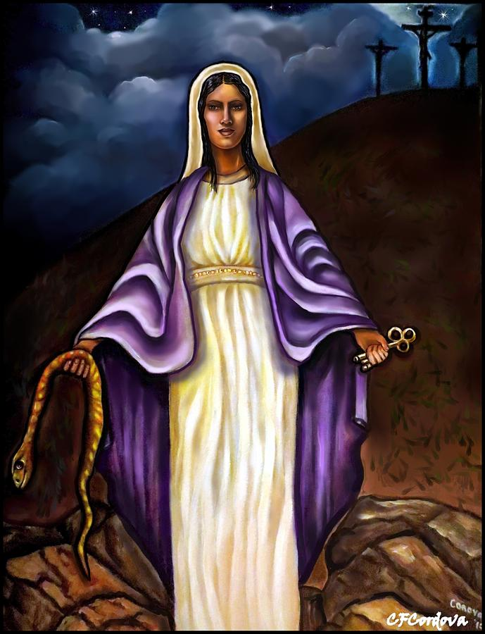 Virgin Mary Painting - Virgin Mary- The Protector by Carmen Cordova