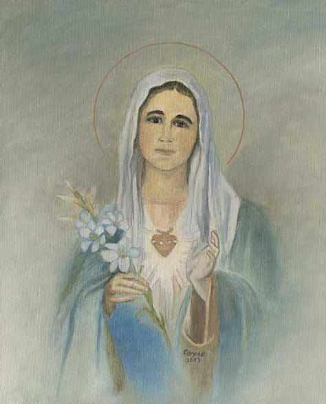 Virgin Mother Mary Painting by Cecilia Brendel