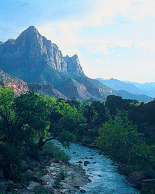 Landscape Photograph - Virgin River Zion National Park by Richard Eller