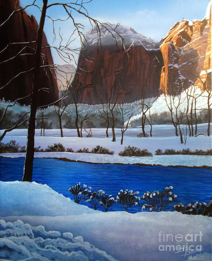 Utah Painting - Virgin Snow Zion by Jerry Bokowski