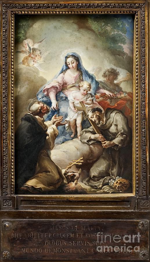 Virgin With St. Francis And St. Dominic Painting by Celestial Images