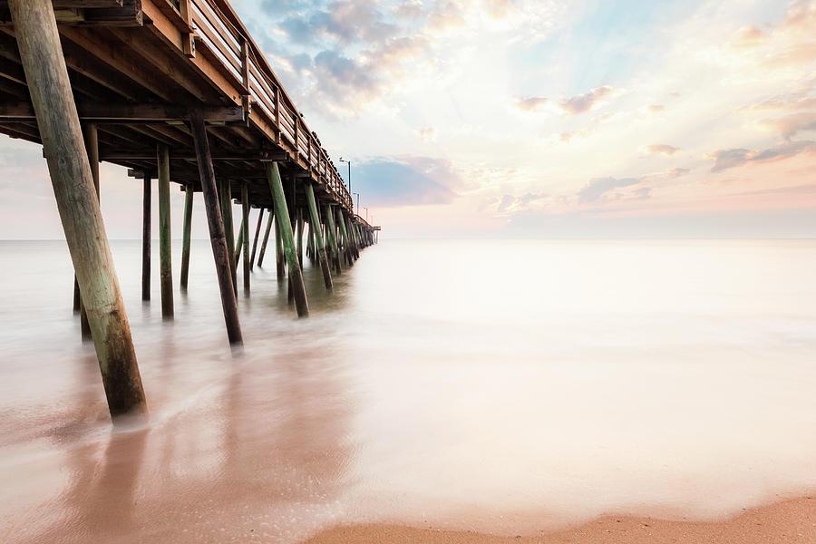 Virginia Beach Fishing Pier Photograph - Virginia Beach Sunrise by Lisa McStamp