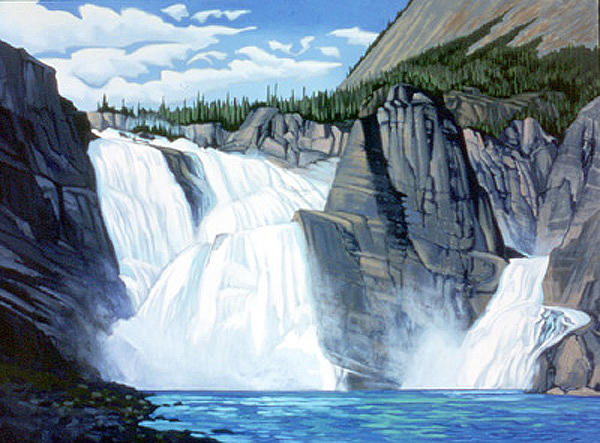 Landscape Painting - Virginia Falls Nahanni River by Paul Gauthier