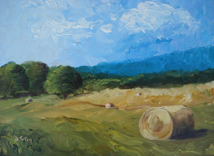 Hay Painting - Virginia Hay Bales II by Donna Tuten