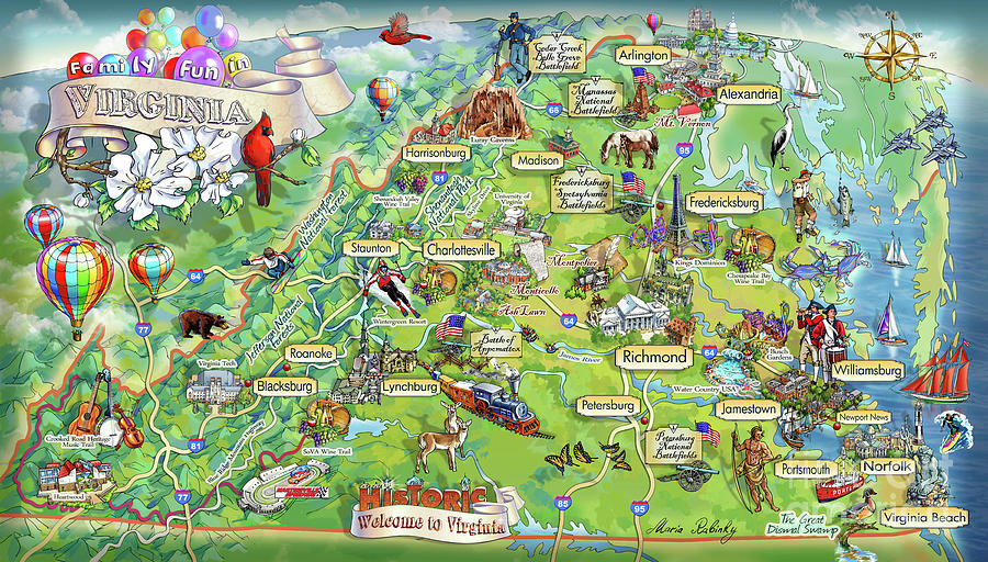 Mount Vernon Painting - Virginia Illustrated Map by Maria Rabinky