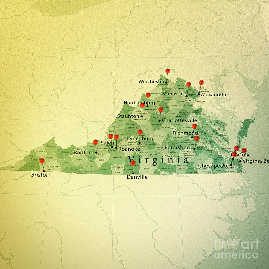 Virginia Map Square Cities Straight Pin Vintage Digital Art By Frank