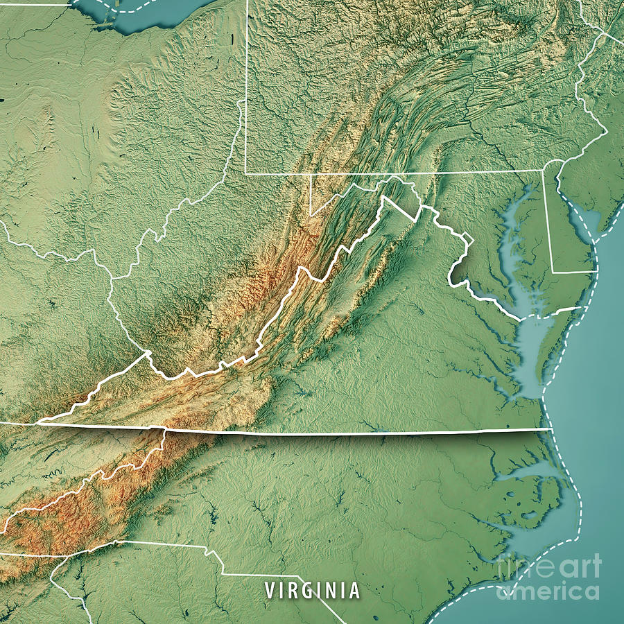 Virginia State Usa 3d Render Topographic Map Border Digital Art By