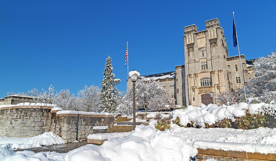 Virginia Photograph - Virginia Tech Campus Burruss Hall Snow Day by Betsy Knapp