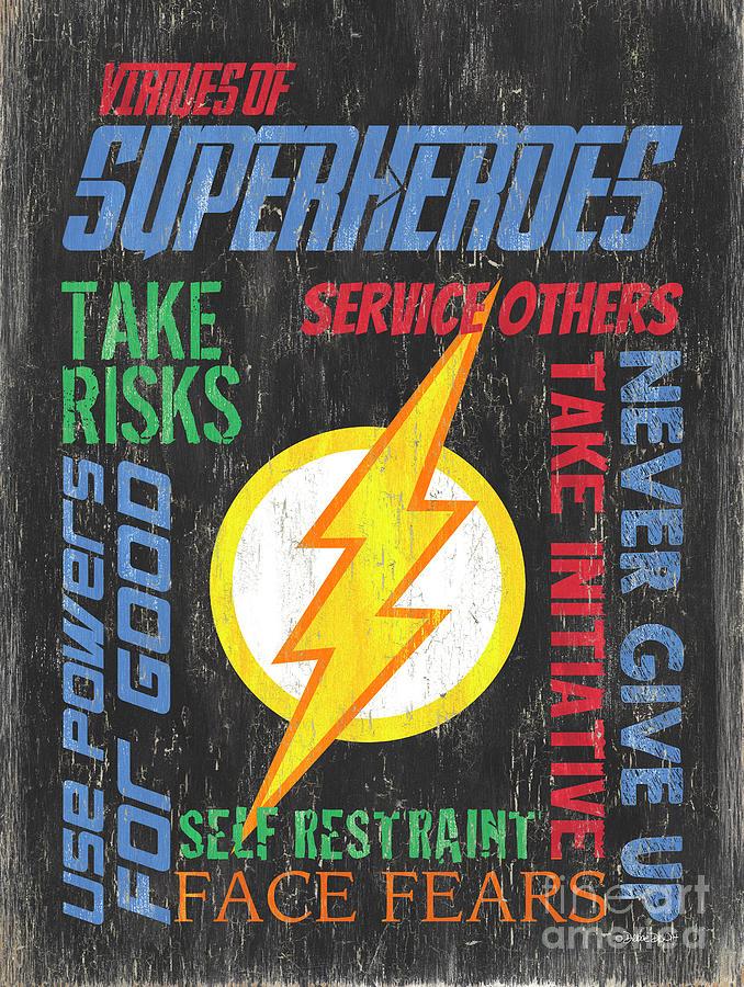 Superhero Painting - Virtues Of A Superhero 2 by Debbie DeWitt