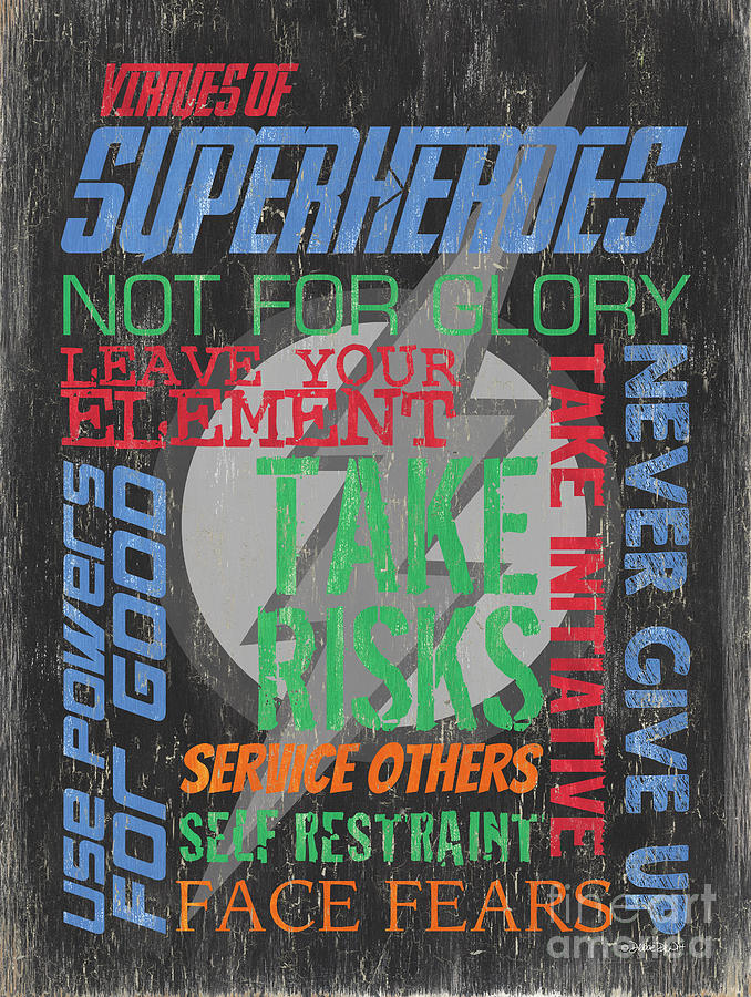 Superhero Painting - Virtues of Superheroes by Debbie DeWitt
