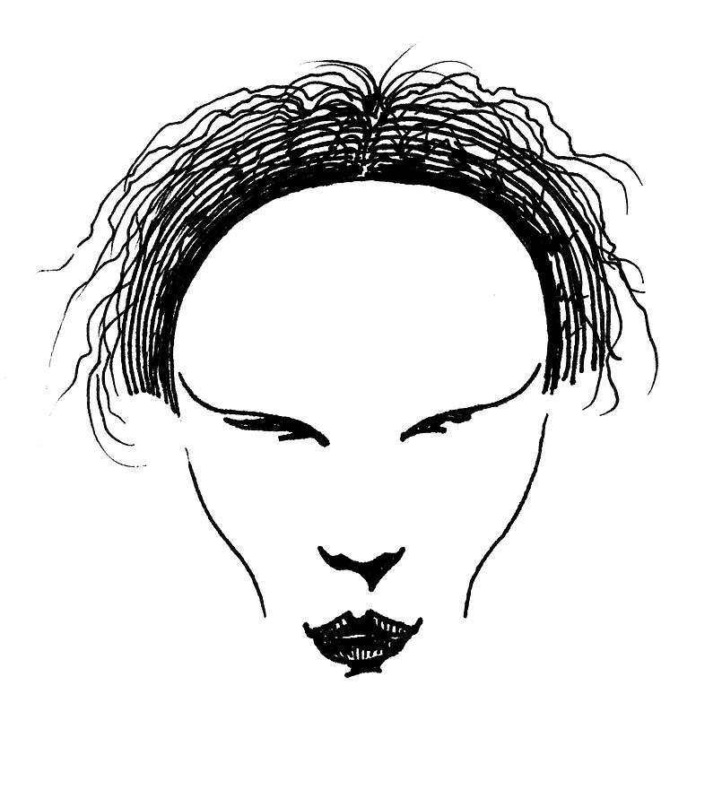 Pen And Ink Drawing - Visage by Keith A Link