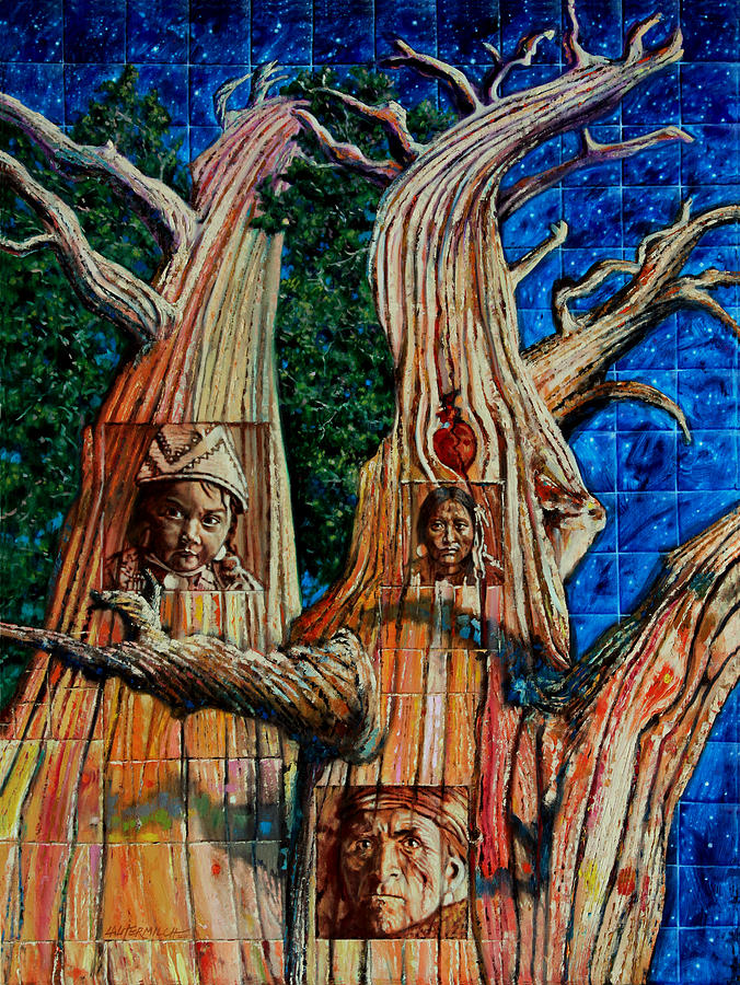 American Indian Painting - Vision Of The Ancient Pine by John Lautermilch