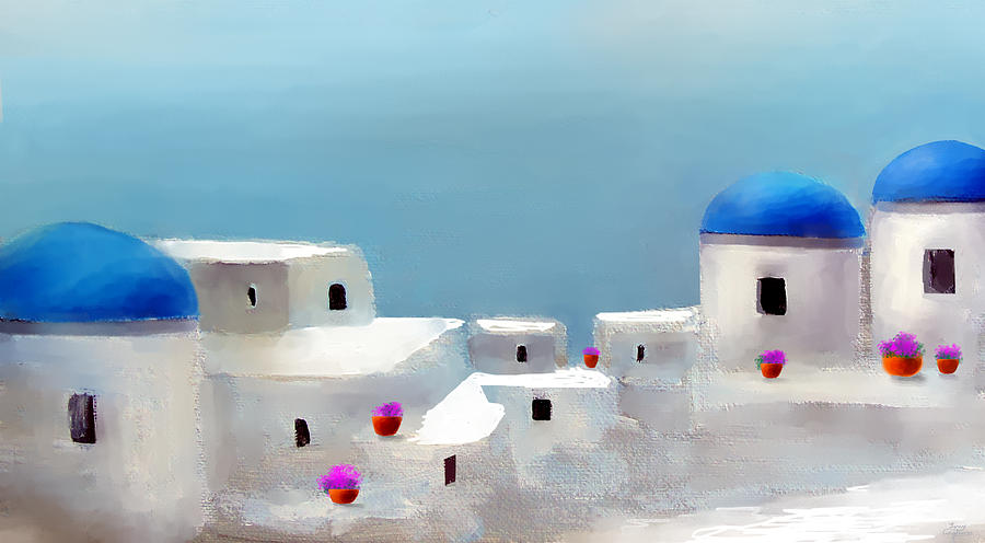 Greece Santorini Paintings Painting - Visions Of Greece by Larry Cirigliano