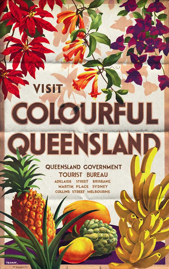 Posters Mixed Media - Visit Colorful Queensland - Vintage Poster Folded by Vintage Advertising Posters