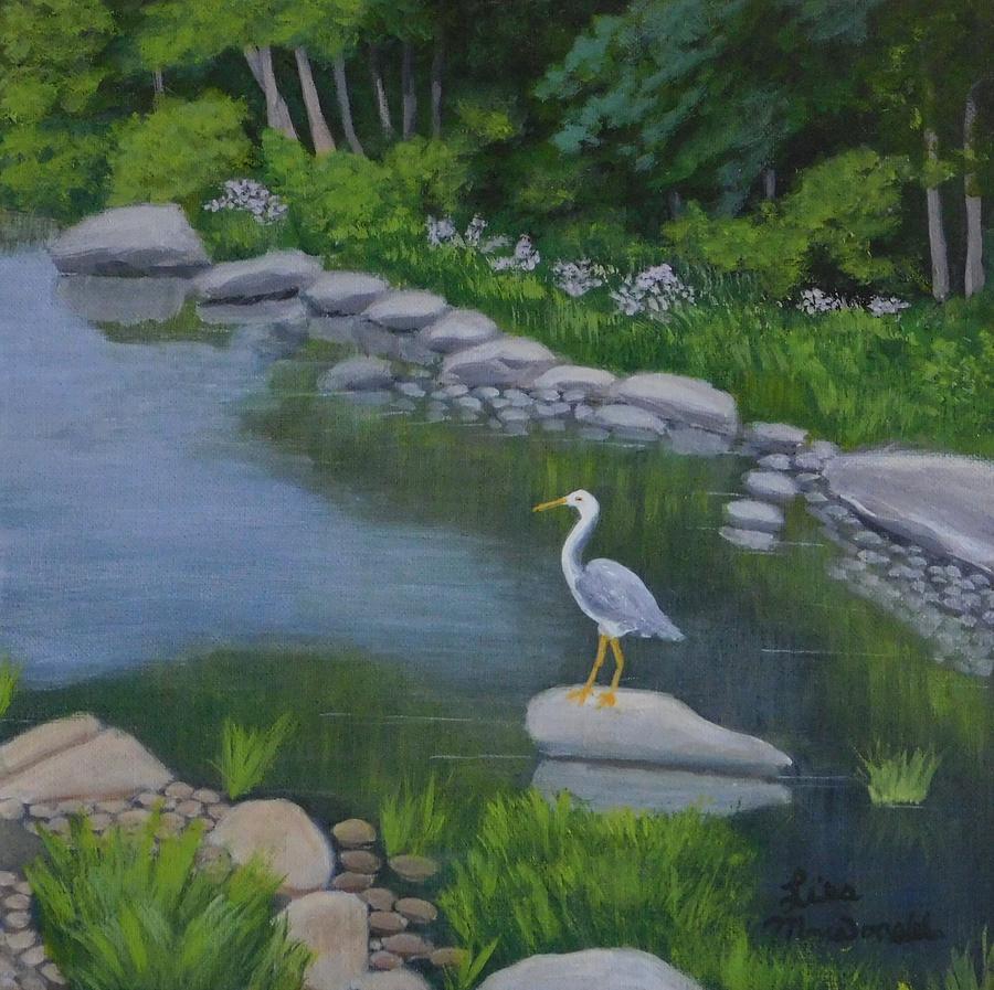Canada Painting - Visiting Heron by Lisa MacDonald