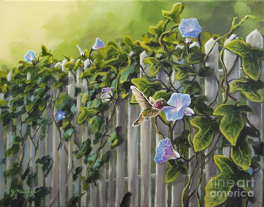 Anna's Hummingbird Painting - Visiting The Morning Glories by Joe Mandrick