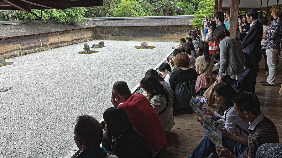 Visitors at a rock garden, Kyoto 2014 by Chris Honeyman