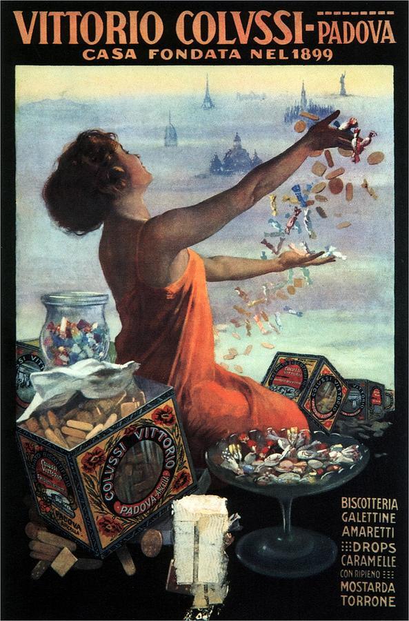 Vittorio Colussi - Casa Fondata - Confectionaries, Candies, Toffee Advertisement - Padova, Italy Mixed Media