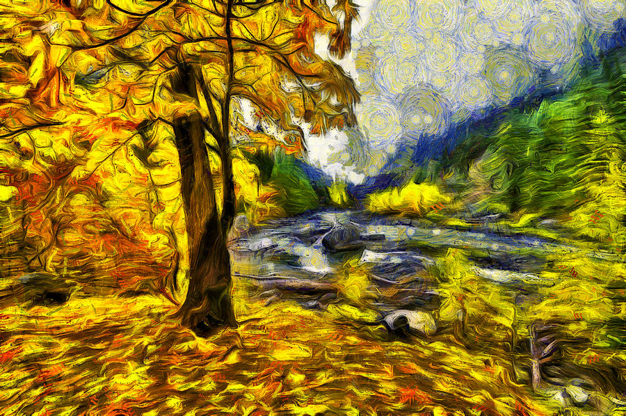 Autumn Digital Art - Vivid Pipeline Trail by Mark Kiver