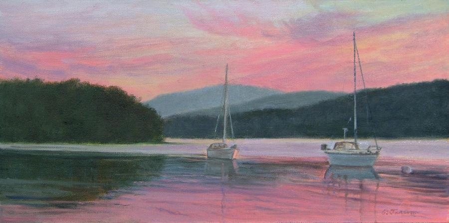 Landscape Painting - Vivid Sundown Hudson Highlands by Phyllis Tarlow