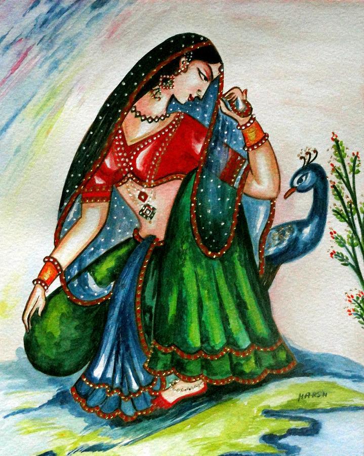 Radha Painting - Viyog by Harsh Malik