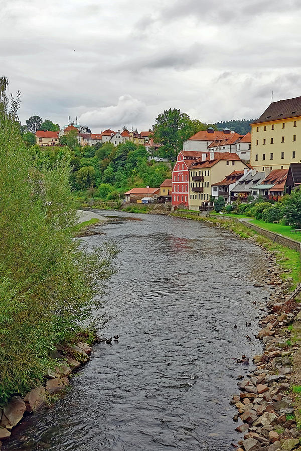 Vltava River Photograph - Vltava River As It Runs Slowly Through Cesky Krumlov In The Czech Republic by Richard Rosenshein
