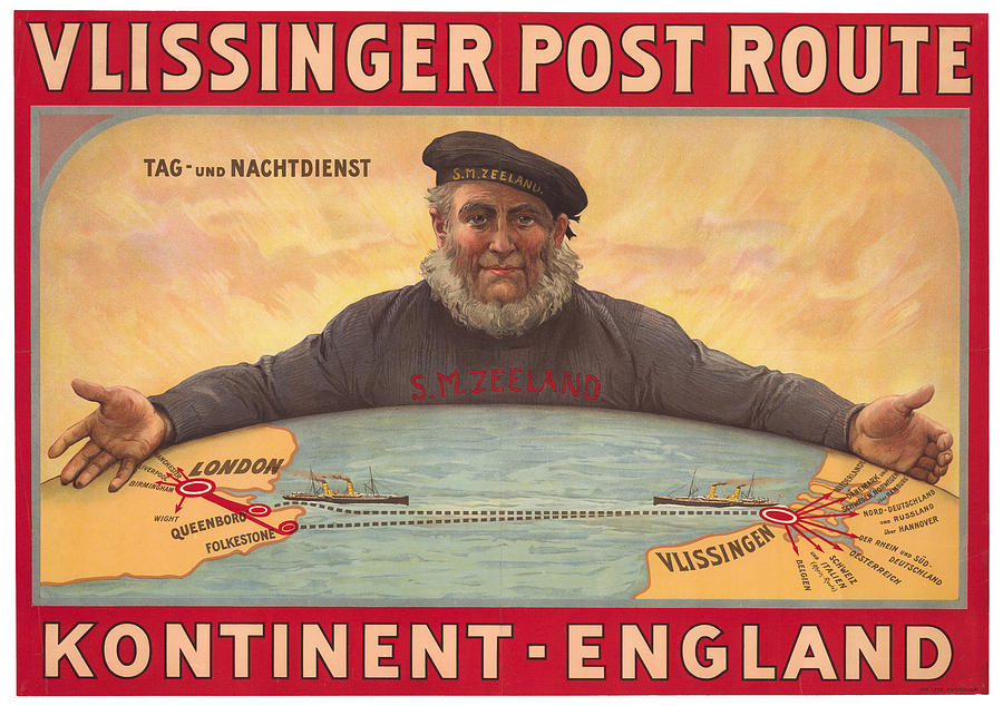 Vlissinger Post Route - Zeeland Maritime Company Poster - London To Flushing Ship Route Drawing
