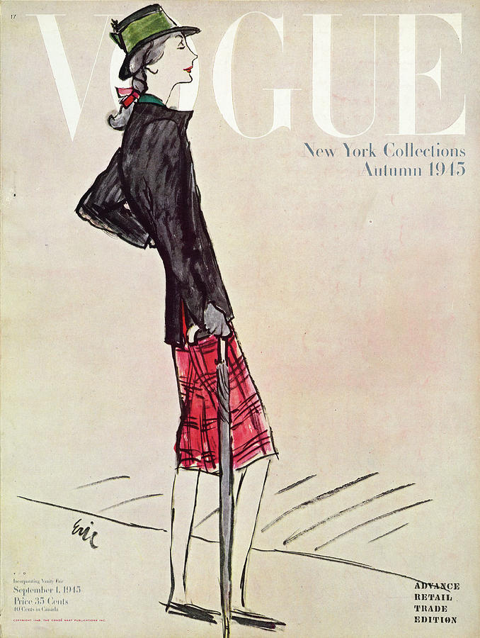 Vogue Cover Featuring A Woman In A Plaid Skirt Photograph by Carl Oscar August Erickson