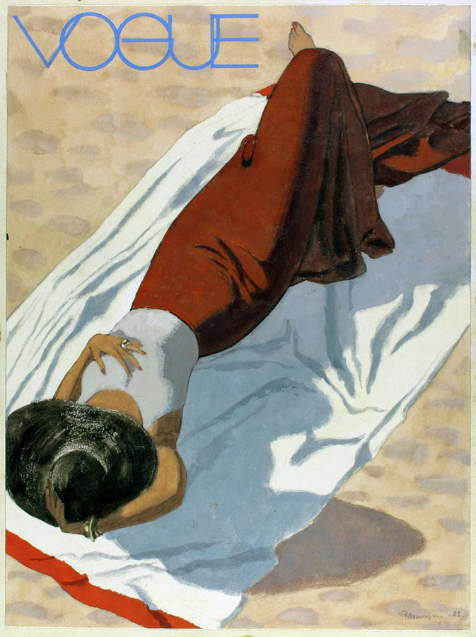 Vogue Cover Featuring A Woman Lying On A Beach Digital Art by Pierre Mourgue